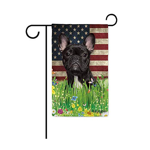 BAGEYOU Cute Puppy Frenchie Garden Flag Lovely Pet Dog American US Flag Wildflowers Floral Grass Spring Summer Home Decorative Patriotic Banner for Outside 12.5x18 inch Printed Double Sided
