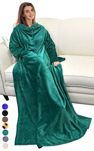 Catalonia TV-Decke mit Ärmeln und Tasche, Flauschig Weiche und Warme Tragbar Kuscheln Snuggle Decke Mikrofaser-Ärmeldecke Robe ideal für Frauen und Männer, 185 cm x 130 cm, Grün