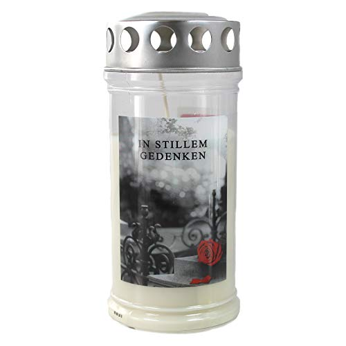 Grabkerze - Gedenkkerze Motiv Rose & Barock 4 Tage 170x75mm