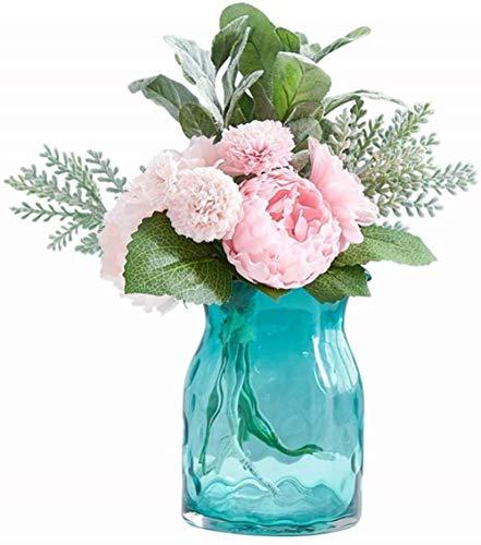 En transparant blauwe glazen vaas Flowers/Droge Bloem Bloem Arrangeur for thuis/hotel decoratie Ornamenten zonder bloemen