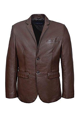 Smart Range Herren Torino Leder Blazer Braun Klassische Italienisch Weich Echte Lamm Fell Lederjacke (L)
