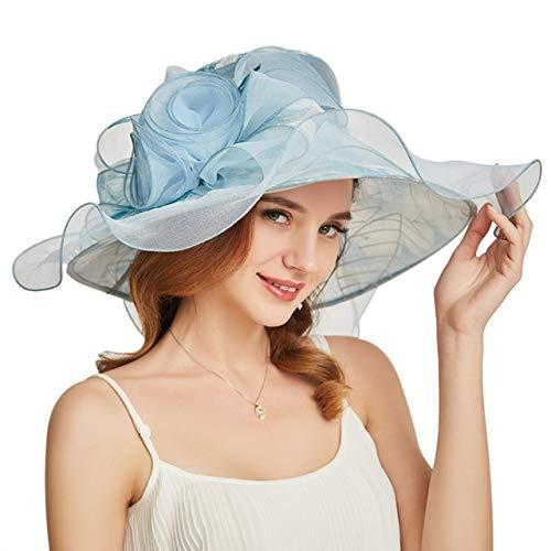 ORIDOOR Women Organza Church Hat Wide Brim Ruffles Kentucky Derby Fascinator Hats for Wedding, C - Light Blue, One Size