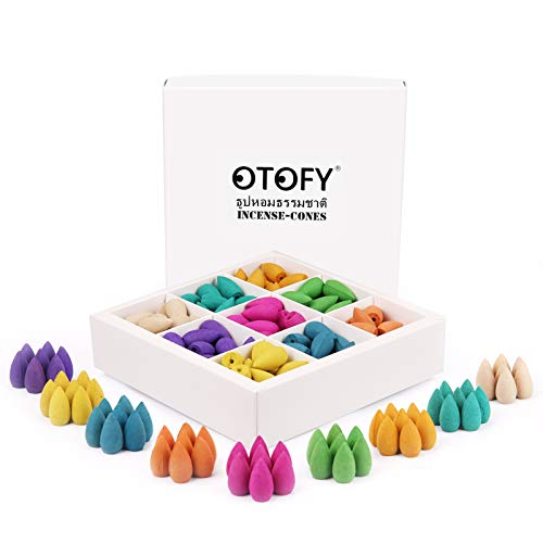 OTOFY Backflow Incense Cones 180 Pcs of 100% Natural Handwork Scents Waterfall Incense Rose Tulip Jasmine Lavender Rose for Backflow Incense Burner Holder Natural | Meditation & Yoga Gift(Pure White)