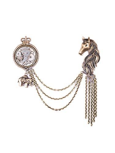Vatslacreations Broche Mustang, broche con temática de animales, gemelos de oro antiguo, pin de solapa de metal, broche de latón, broche de metal Mustang broche, broches de oro vintage