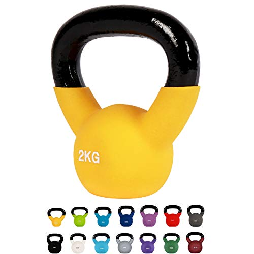 Kettlebell Professionale 2 - 30 kg | Ghisa Revestimento in Neoprene | incl. Workout PDF | diversi colori (Kettlebell Professionale 2 kg | Ghisa Revestimento in Neoprene | incl. Workout PDF | Giallo)