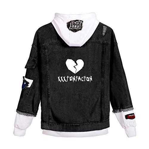 Novelty Denim Hoodie Jacket Hip Hop Rapper Merch Sweatshirts 3D Printed Jeans Jackets Casual Streetwear