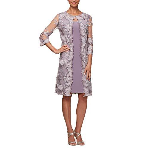 Alex Evenings Women's Midi Scoop Neck Shift Dress with Chiffon Trim Jacket,...