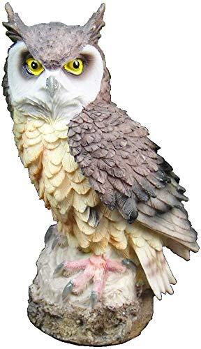 AMYZ Owl Resin Figurine Bird Statue Garden Landscape Ornament for Home Desk House Garden Lawn Decoration (Brown)
