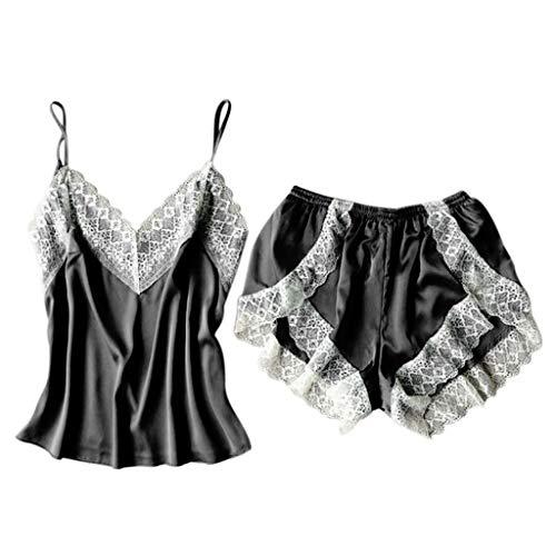 Ensemble de Pyjama Femmes 2Pc, Manadlian Sleepwear Lingerie Sexy Vêtements en Nuit avec Col en V Mini Costume
