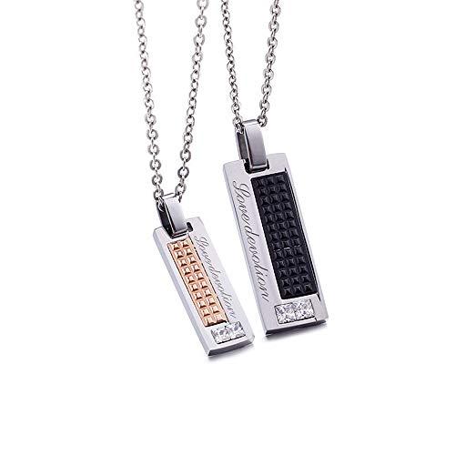 ZSCRL Colgante de Diamante de Acero Titanio, Cadena de Acero Puro, Juego de Collar de Pareja Negro + Oro