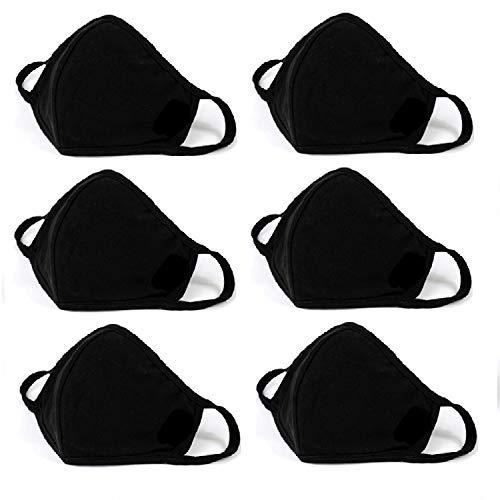 100% Cotton PM2.5 Filter Pocket Mouth Face Protect Bandana Balaclavas, 2-layer Unisex Reusable Fashion Washable (Pack 6-Black)