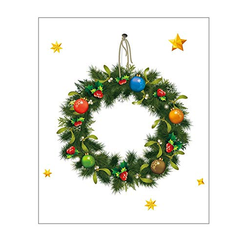 Luckything Kerstmis sticker venster sticker, kerst krans muursticker statisch sticker schuifdeur etalage sticker kerststicker Kerstmis decoratie PVC sticker