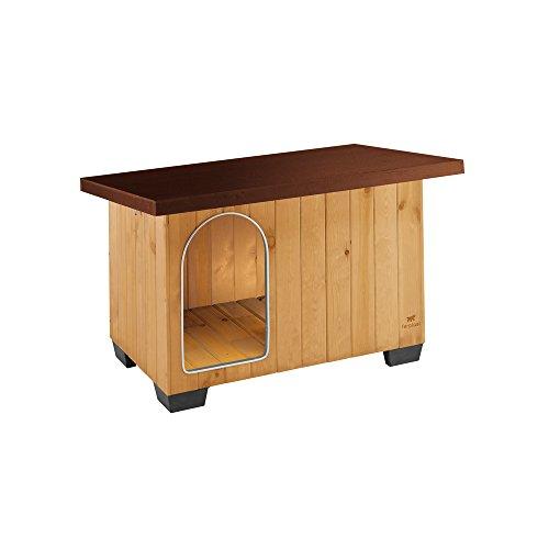 Ferplast Baita Outdoor-hondenhaak van milieuvriendelijk hout, isolatiepoten van kunststof, deur met bijtvast aluminium frame, lessenaarsdak om te openen, Baita 80, 87015000-0615532