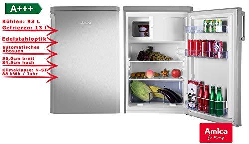 Amica KS 361 112 E Kühlschrank mit Gefrierfach silber A+++ 106L Bürokühlschrank
