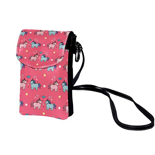 Mini Messenger Bag Cute Unicorn (158) Small Crossbody Bag Leather Cellphone Pouch Purse with Adjustable Should Strap for Women Girls Kids 19x12x2cm