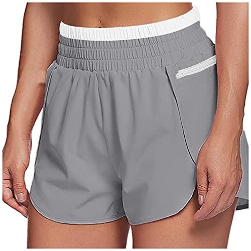 Shorts Deportivos de Color Sólido con Bolsillos Laterales para Mujer Pantalones Cortos Mujer Suelta y Transpirables Pantalón Corto Deporte Mujer Casual Verano Pantalon Mujer con Cintura Elástica