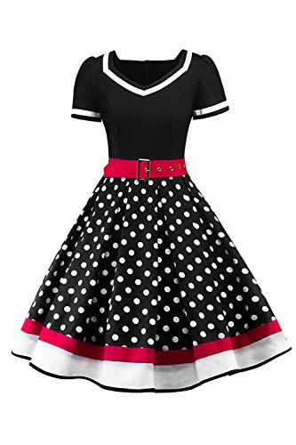 AXOE Damen Gepunktet Rockabilly Vintage Kleid mit Gürtel Partykleid Schwarz Gr. 38