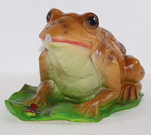 RAKSO Deko Garten Figur Gartenfigur Tierfigur Teichfigur Wasserspeier Kröte Frosch groß auf Blatt aus Kunststoff Länge 28 cm
