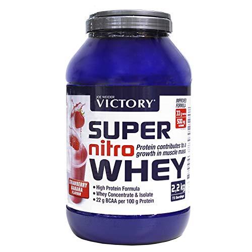 Victory Super Nitro Whey Fresa-Plátano (2,2 kg). Concentrado y Aislado de suero. Fuente Proteica rica en BCAAs. Recuperación muscular. Con L-Glutamina, Vitamina B6 y Calcio.