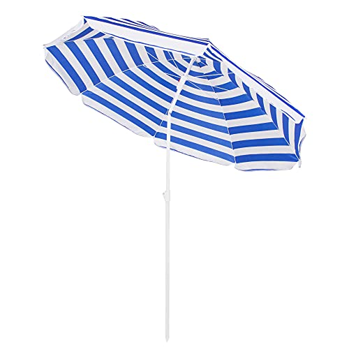 SPRINGOS Brunner - Sombrilla de playa (175 cm de altura, 160 cm de diámetro), color blanco y azul