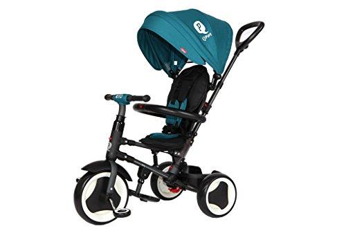 Mondial Toys Triciclo Passeggino Pieghevole 3 in 1 RITO con MANIGLIONE DIREZIONABILE E CAPPOTTINA Parasole Colore Verde Petrolio