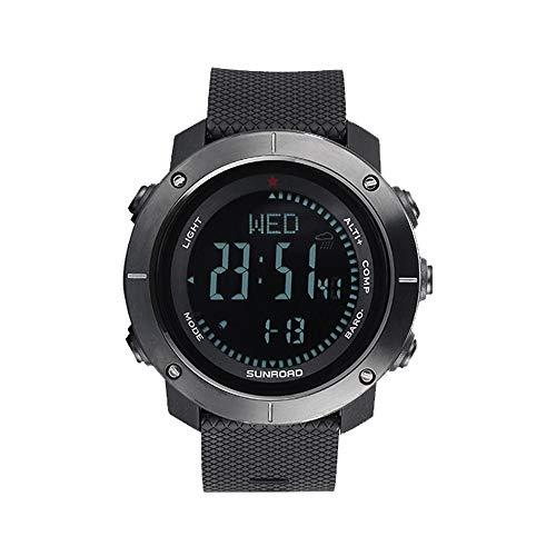 LIXADA スポーツウォッチ デジタル腕時計 高度計 気圧計 コンパス 温度計 歩数計 5ATM防水 メンズ レディース 文字が大きくて見やすい