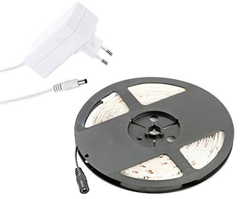 Lunartec LED Band selbstklebend: LED-Streifen LE-500MN, 5 m, warmweiß, Innenbereich & Netzteil (LED Streifen selbstklebend)