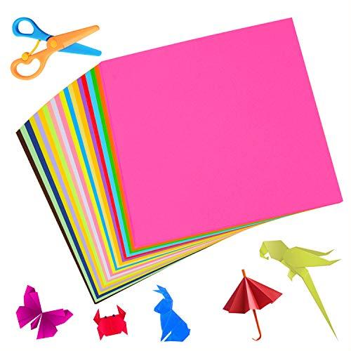 LOYALSE Origami Papier, 200 Blätter 20 Farben und eine Schere, Farbiges Faltpapier für DIY Kunst und Bastelprojekte 15 x 15 cm