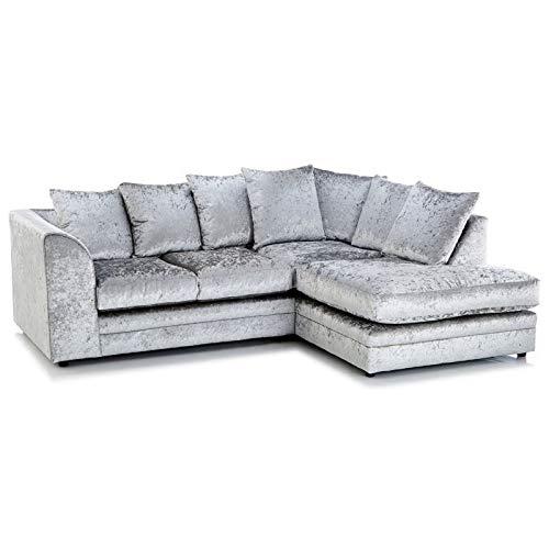 Zinc Crushed Velvet Right Hand Corner Sofa Silver