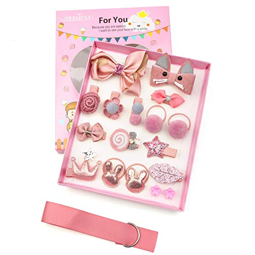 DONQL Juego de 18 horquillas para el pelo para niñas, para niños, para regalo de cumpleaños (rosa)