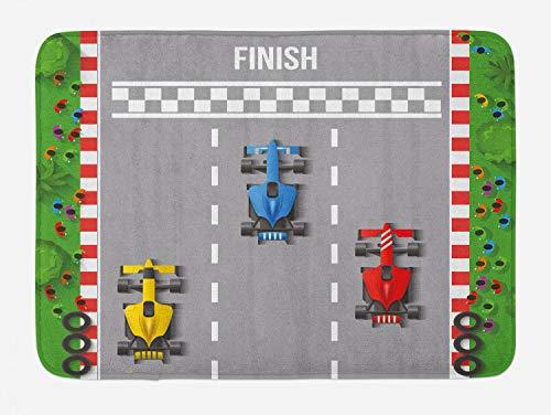 Lunarable Nursery Bath Mat, Car Race Formula Automobiles Competition Winner Champion Speed Team Graphic, Plush Bathroom Decor Mat with Non Slip Backing, 29.5' X 17.5', Grey Red