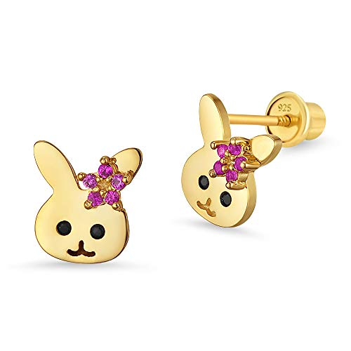 14k Gold Plated Brass Rabbit Cubic Zirconia Screwback Baby Girls Earrings with Sterling Silver Post