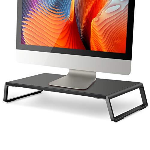 Viozonモニター台 机上台 幅56×奥行24×高さ9cm メタルフィート付き iMac コンピューター ラップトップ スタンド ライザー プリンタ台 FAX台 キーボード 収納 エルゴノミック(ID-20 B)