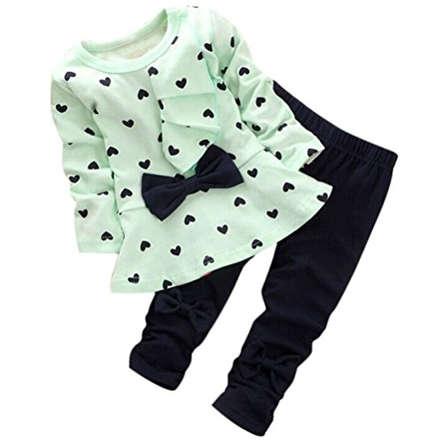 Babykleidung, Honestyi Heart-Shaped Print Bow Cute Kids Set T-Shirt + Hosen Baby-Sets 2St (Grün, 12-24Monate/110CM)