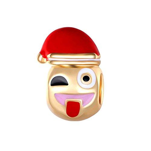Bling Stars Vergoldete Emoji-Perlen mit Weihnachtsmütze, Zunge, Emoji, Smiley, Emoticon-Perlen für Schlangenketten-Armbänder