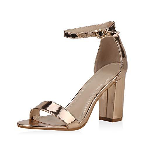 SCARPE VITA Damen Riemchensandaletten High Heels Sandaletten Basic Party Schuhe Wildleder-Optik Absatzschuhe Abendschuhe 189569 Rose Gold Gold 39