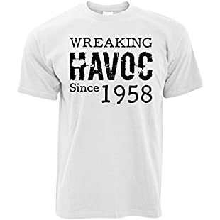 60th Birthday Womens Tee Wreaking Havoc Since 1958 White X-Large:Firmwarerom