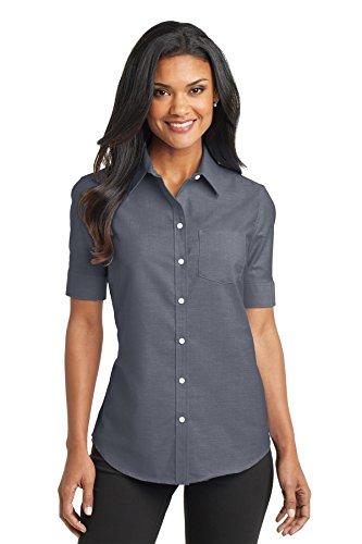 Port Authority L659 Women's Short Sleeve SuperPro Oxford Shirt Black Large