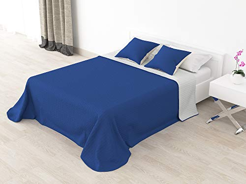 Cabetex Home - Colcha Bouti Reversible Bi-Color de Microfibra Transpirable con Cojines Mod. Colors (Azul/Gris, Cama de 105 cm...