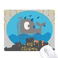 シロナガスクジラの巨大な漫画の説明 クリスマスイブのゴムマウスパッド