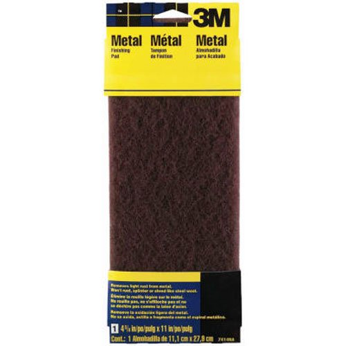 3M Hand Sanding Metal Finishing Pad, 4.375 in by 11 in, Maroon, Medium (7414NA)