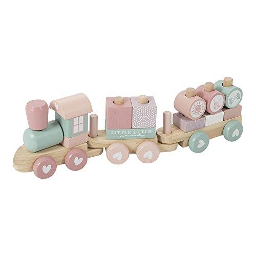 Little Dutch 0422015 Holz-Eisenbahn mit Steck-Formen Adventure rosa