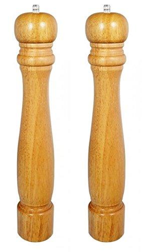 XXL Salz und Pfeffer Holz Mühle Keramikmahlwerk - 2er Set: Salzmühle und Pfeffermühle - nachfüllbar, manuell, 40 cm hoch (2X Pfeffermühle Naturholz)