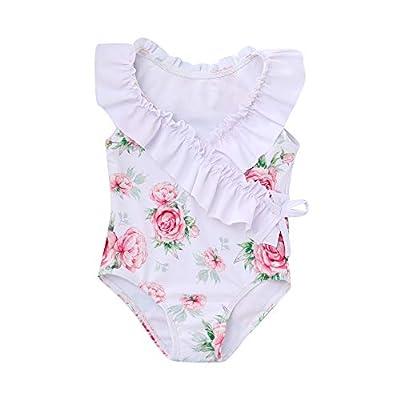 Kids Little Toddler Girl Swimsuit Ruffled Floral Bikini Vintage Sleeveless One Piece Tankini Swimsuit 4T 5T Bathing Suit for Girls (Os-RWhite)