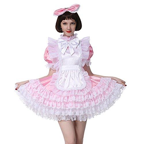 GOceBaby Sissy Mädchen Dienstmädchen Große Bogen Baby Rosa Glänzend Satin Abschließbares Kleid Crossdress (L)