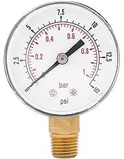 Manometro Agua Presion-Samfox Indicador de Presión - Mini Manómetro de Baja Presión de Aire para el Aceite Combustible o Agua 0-15psi / 0-1bar BSPT