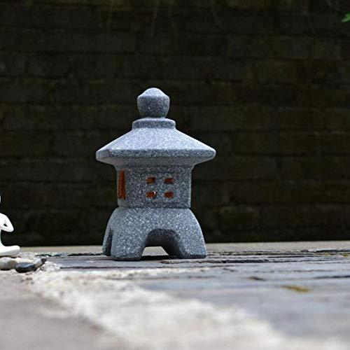 RPLW Pagoda Vela Linterna Escultura,Japonés Antiguo Portavelas Estatua Lámpara Zen Figurilla para Jardín Balcón Césped A 11x11x19cm(4.3x4.3x7.5inch)