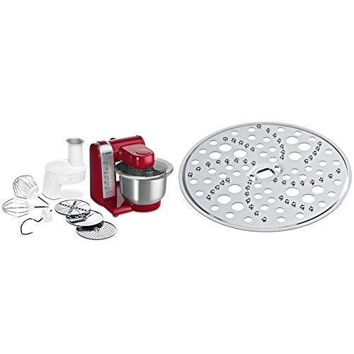 Bosch MUM4 MUM48R1 Küchenmaschine (600 W, 3 Rührwerkzeuge aus Edelstahl, spülmaschinengeignet, Rührschüssel 3,9 Liter, max. Teigmenge: 2,0kg, Durchlaufschnitzler 3 Scheiben) rot & MUZ45RS1 Reibscheibe