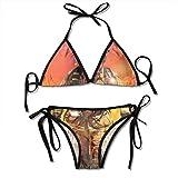 Halter Swimwear Plunge Bikini Bombero Figura en un edificio en llamas Buscando sobrevivientes Servicios de emergencia Bikini Swimsuit