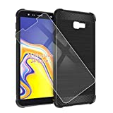 QFSM Funda + Cristal Templado para Samsung Galaxy J4 Plus 2018 Silicona Carcasa TPU Airbag Anti-Knock Fibra de Carbono Cover Case, HD Película Protectora Cristal Templado Pantalla Glass